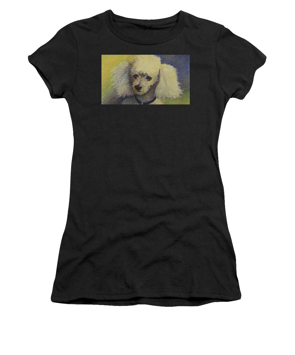 Poodle Women's T-Shirt (Athletic Fit) featuring the drawing Emile by Lillian Coury