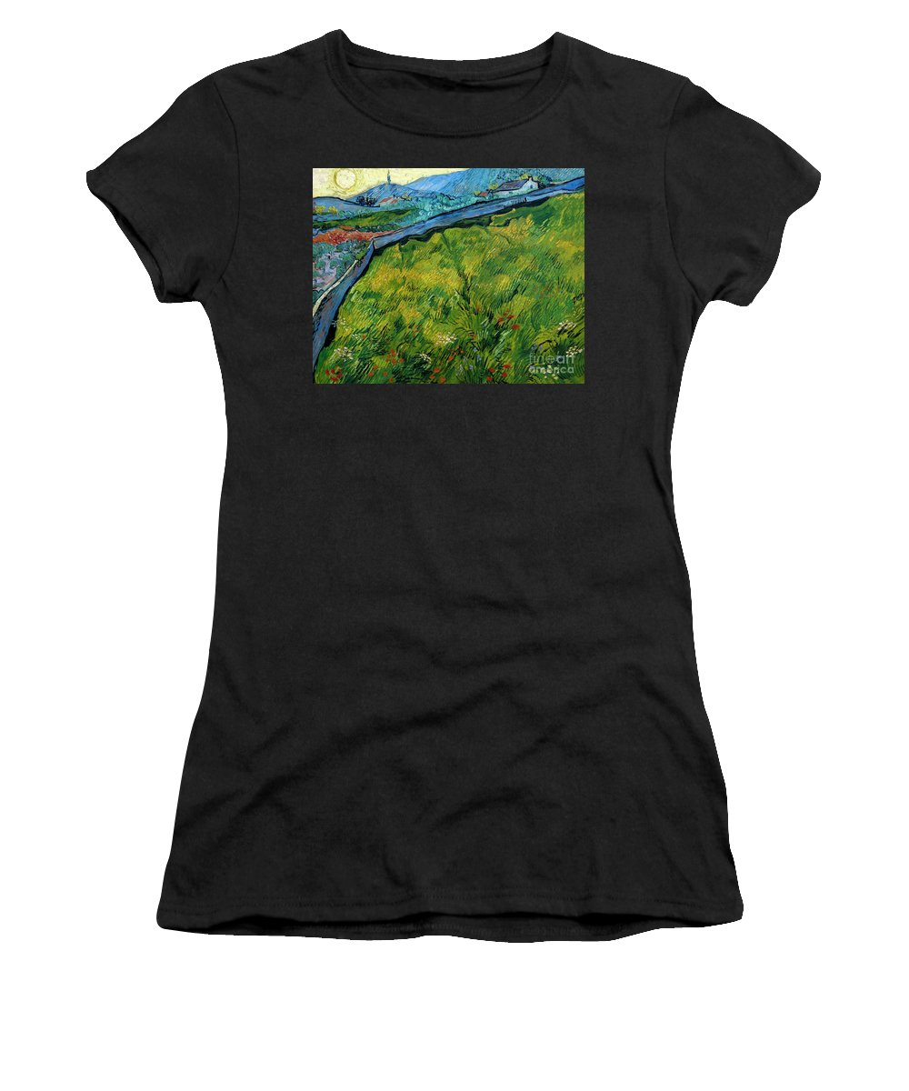 1889 Women's T-Shirt (Athletic Fit) featuring the photograph Enclosed Wheat Field With Rising Sun, By Vincent Van Gogh, 1889, by Peter Barritt