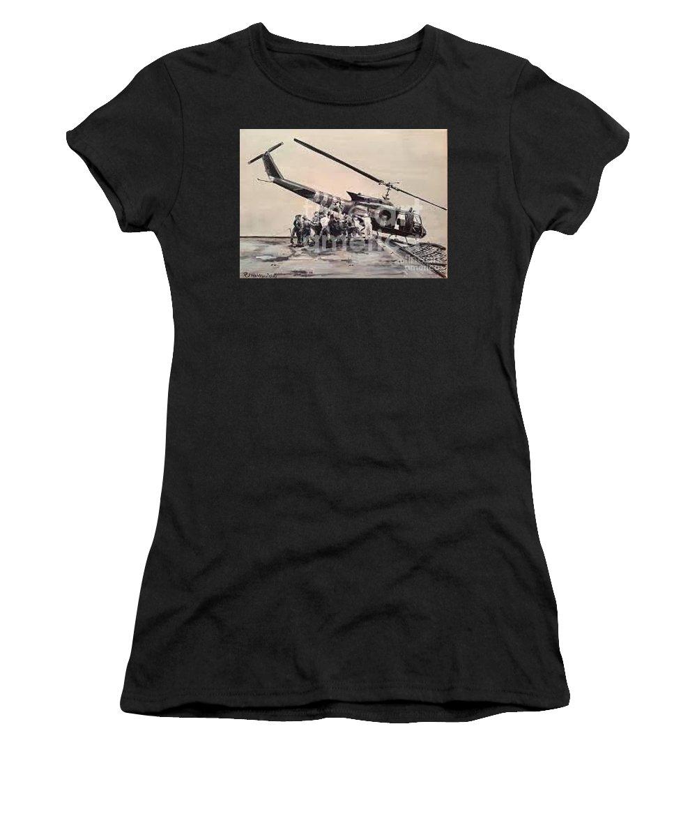 Vietnam_huey_carrier_us Navy Women's T-Shirt featuring the painting End Of An Era by Richard John Holden RA
