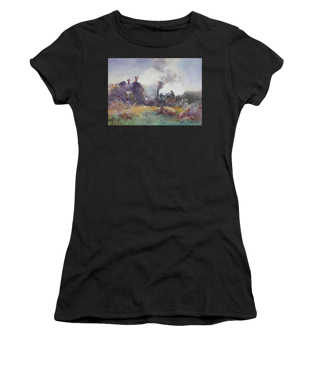 End Women's T-Shirt (Athletic Fit) featuring the painting End Of The Day by Butler Mildred Anne