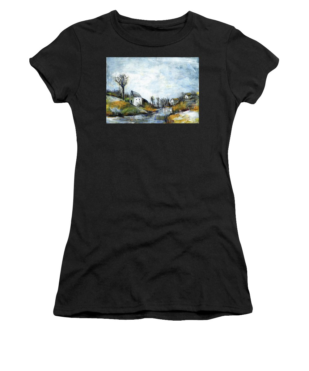 Landscape Women's T-Shirt (Athletic Fit) featuring the painting End Of Winter - Acrylic Landscape Painting On Cotton Canvas by Aniko Hencz