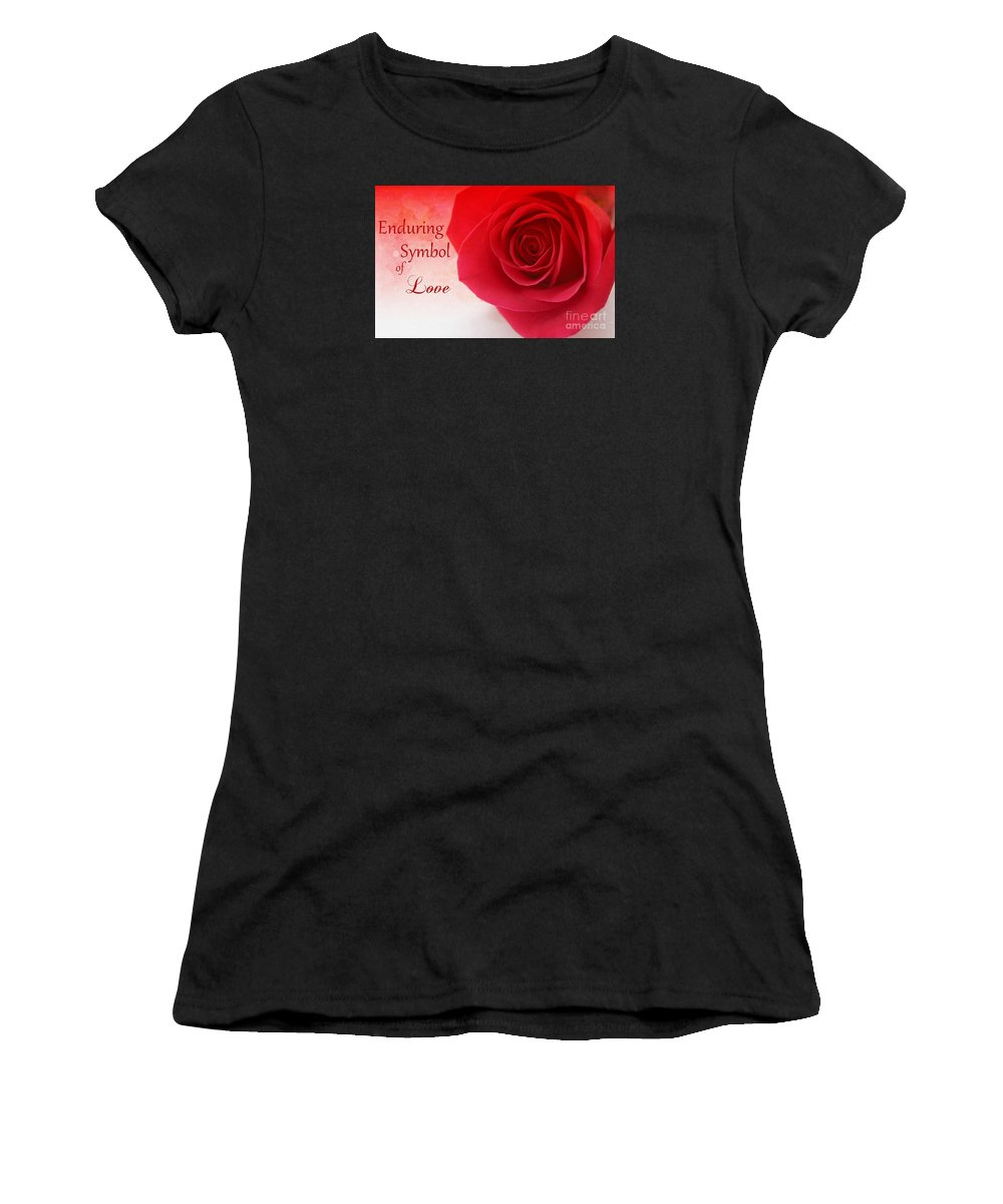 Rose Women's T-Shirt (Athletic Fit) featuring the photograph Enduring Symbol Of Love by Clare Bevan