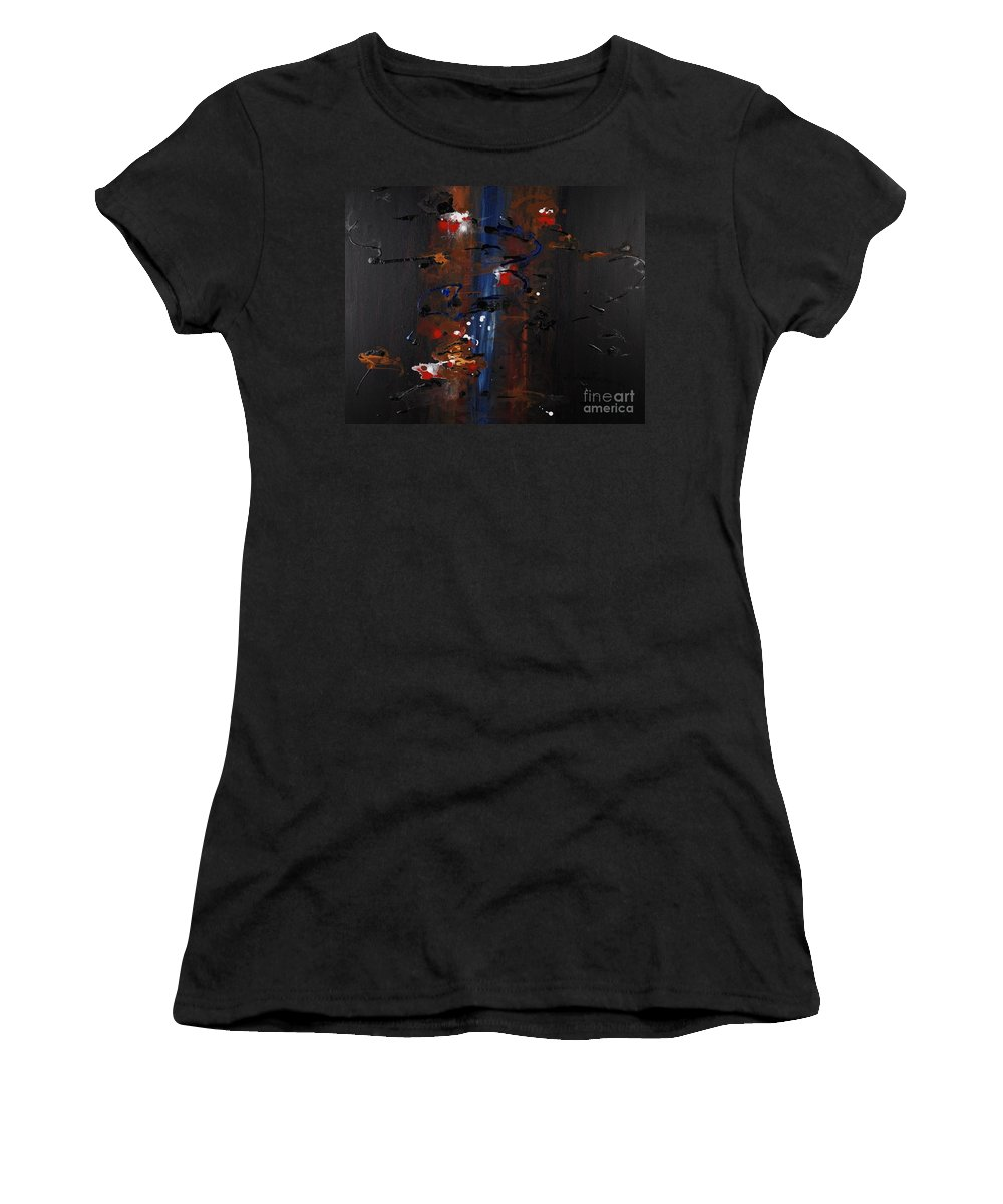 Black Women's T-Shirt (Athletic Fit) featuring the painting Energy by Nadine Rippelmeyer