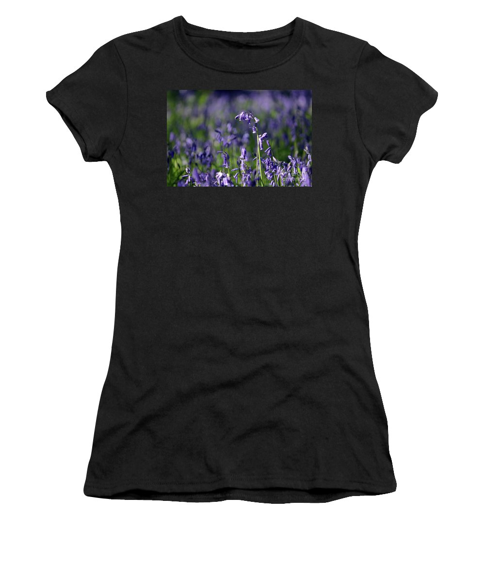 English Bluebells In Bloom Epsom Surrey Uk English Bluebells Wood Effingham Surrey Uk Countryside Landscape Blue Flowers Traditional Scene Woodland Bluebell Forest Picturesque Close Up Women's T-Shirt featuring the photograph English Bluebells In Bloom by Julia Gavin