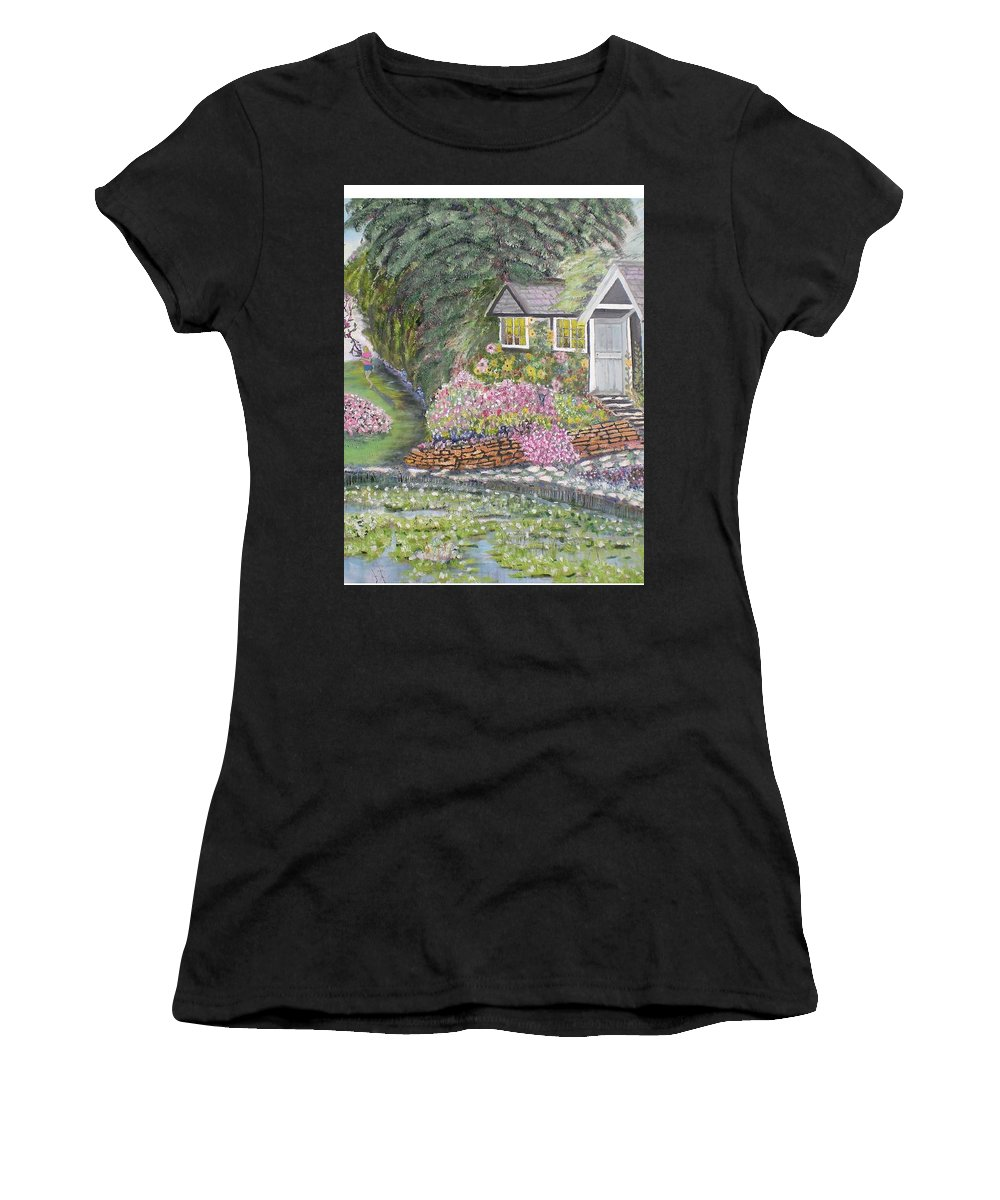 Cottage Women's T-Shirt (Athletic Fit) featuring the painting English Cottage by Hal Newhouser