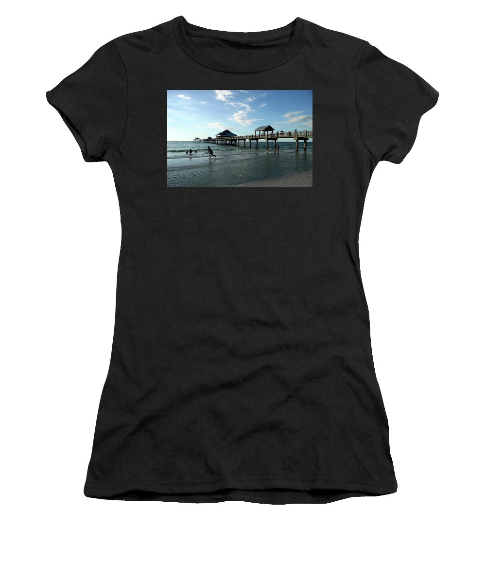 Beach Women's T-Shirt featuring the photograph Enjoy The Beach - Clearwater Pier by Christiane Schulze Art And Photography