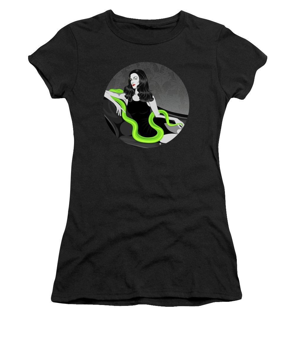 Deadly Sins Women's T-Shirt featuring the digital art Envy by Carolina Matthes