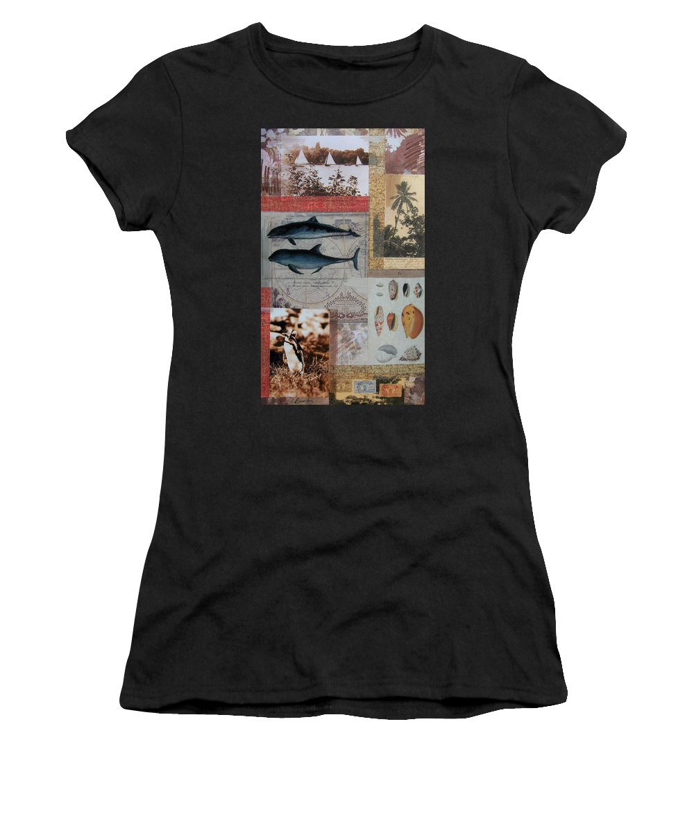 Travel Women's T-Shirt (Athletic Fit) featuring the mixed media Escape And Explore Iv by Leigh Banks