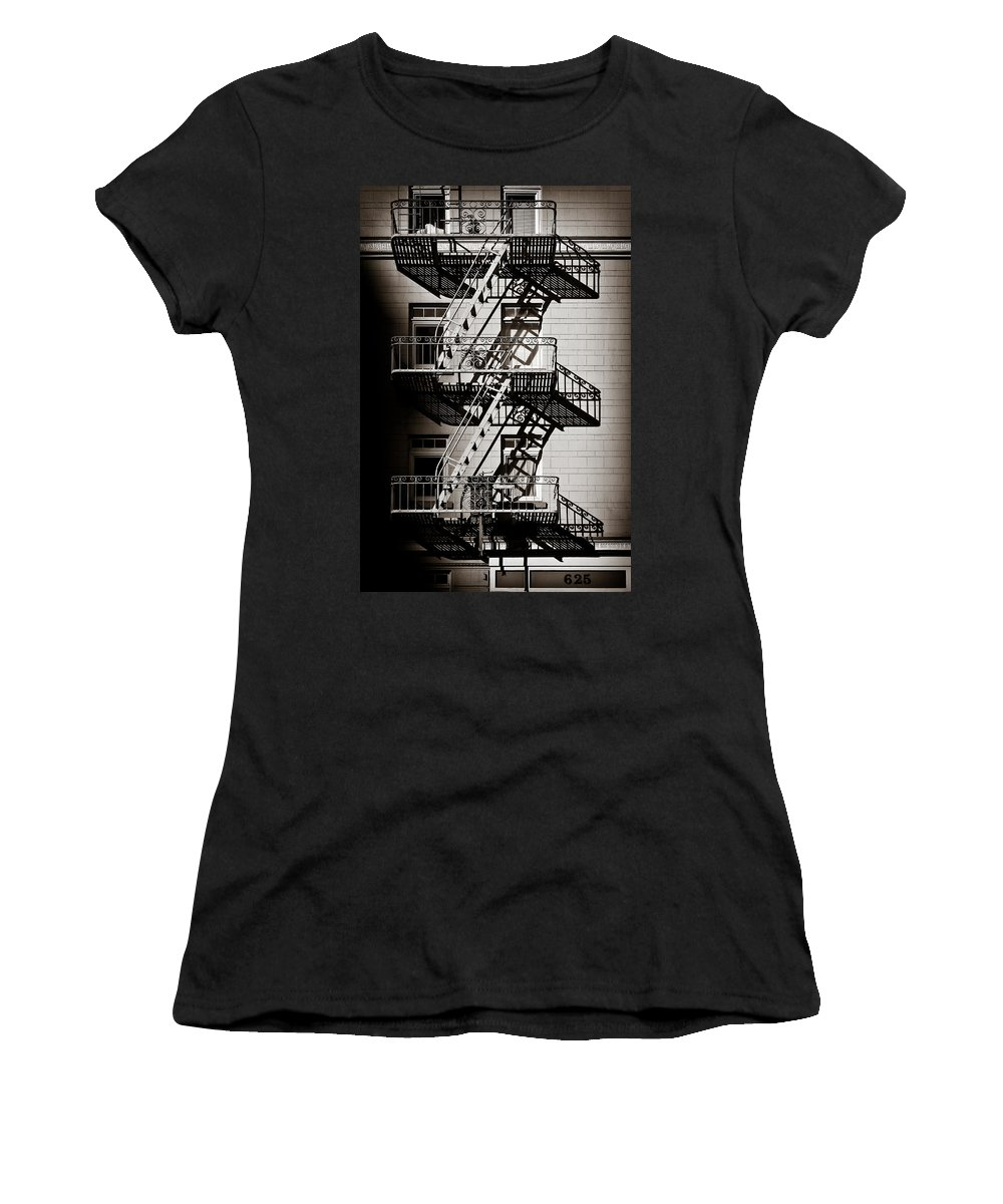 Fire Escape Women's T-Shirt (Athletic Fit) featuring the photograph Escape by Dave Bowman