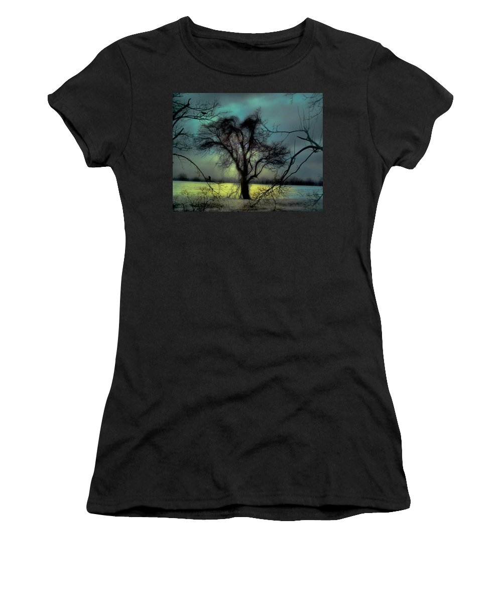 Blue Women's T-Shirt (Athletic Fit) featuring the photograph Ethereal Trees by Gothicrow Images