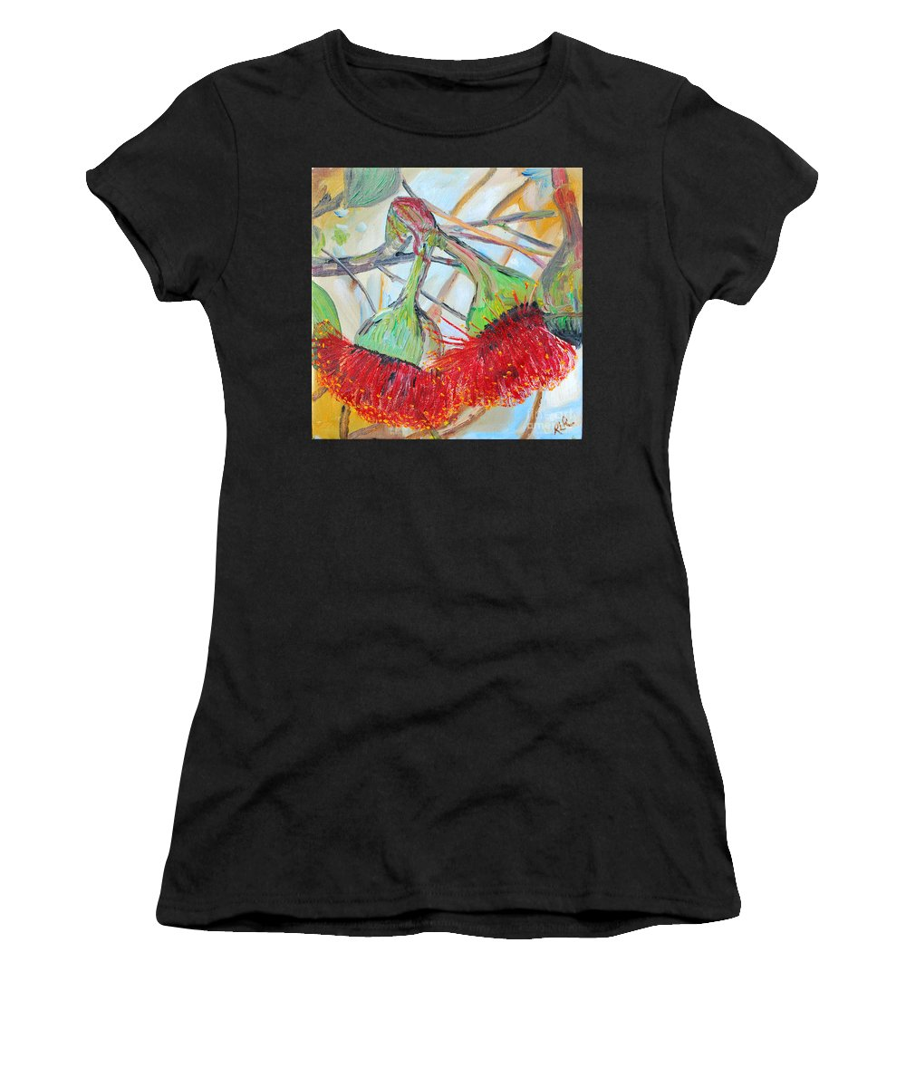 Flowers Women's T-Shirt (Athletic Fit) featuring the painting Eucalyptus Flowers by Reina Resto