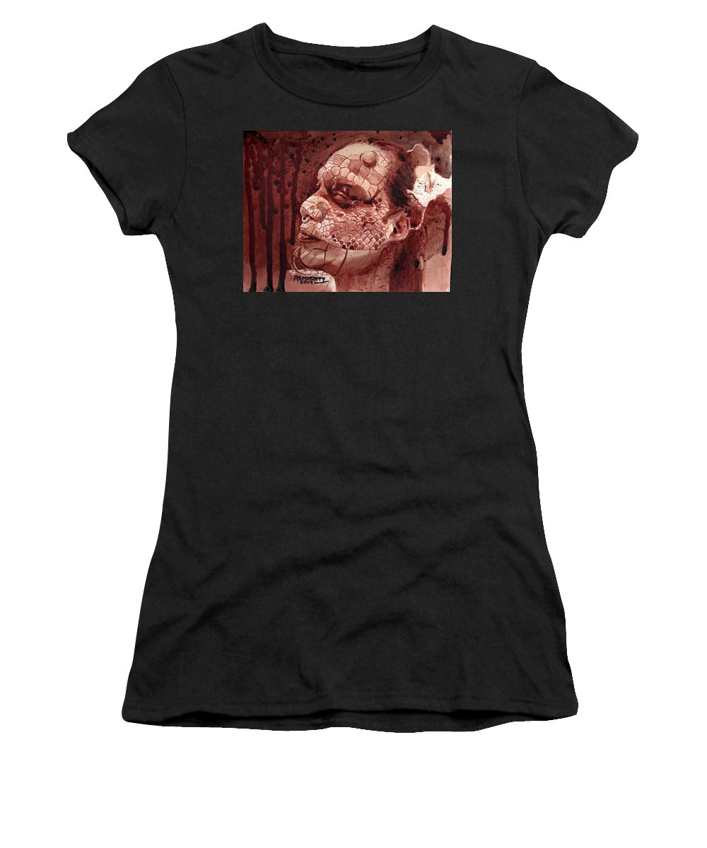 Eva Medusa Women's T-Shirt (Athletic Fit) featuring the painting Eva Medusa - Lizard Woman by Ryan Almighty