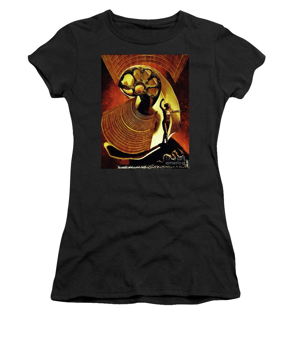 Eve Women's T-Shirt featuring the mixed media Eve Balanced On A Tightrope by Sarah Loft