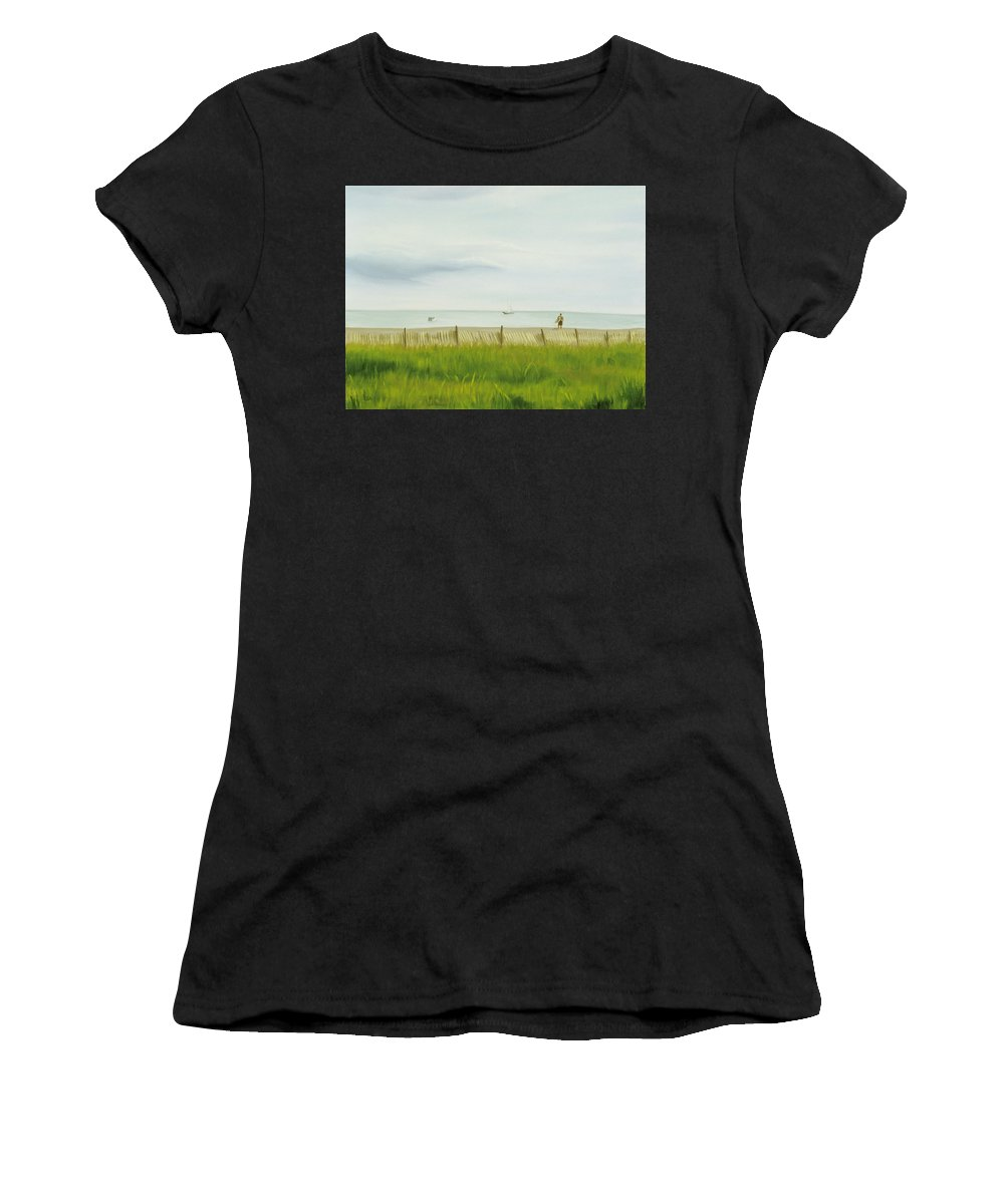 Seascape Women's T-Shirt (Athletic Fit) featuring the painting Evening At Cape May by Lea Novak