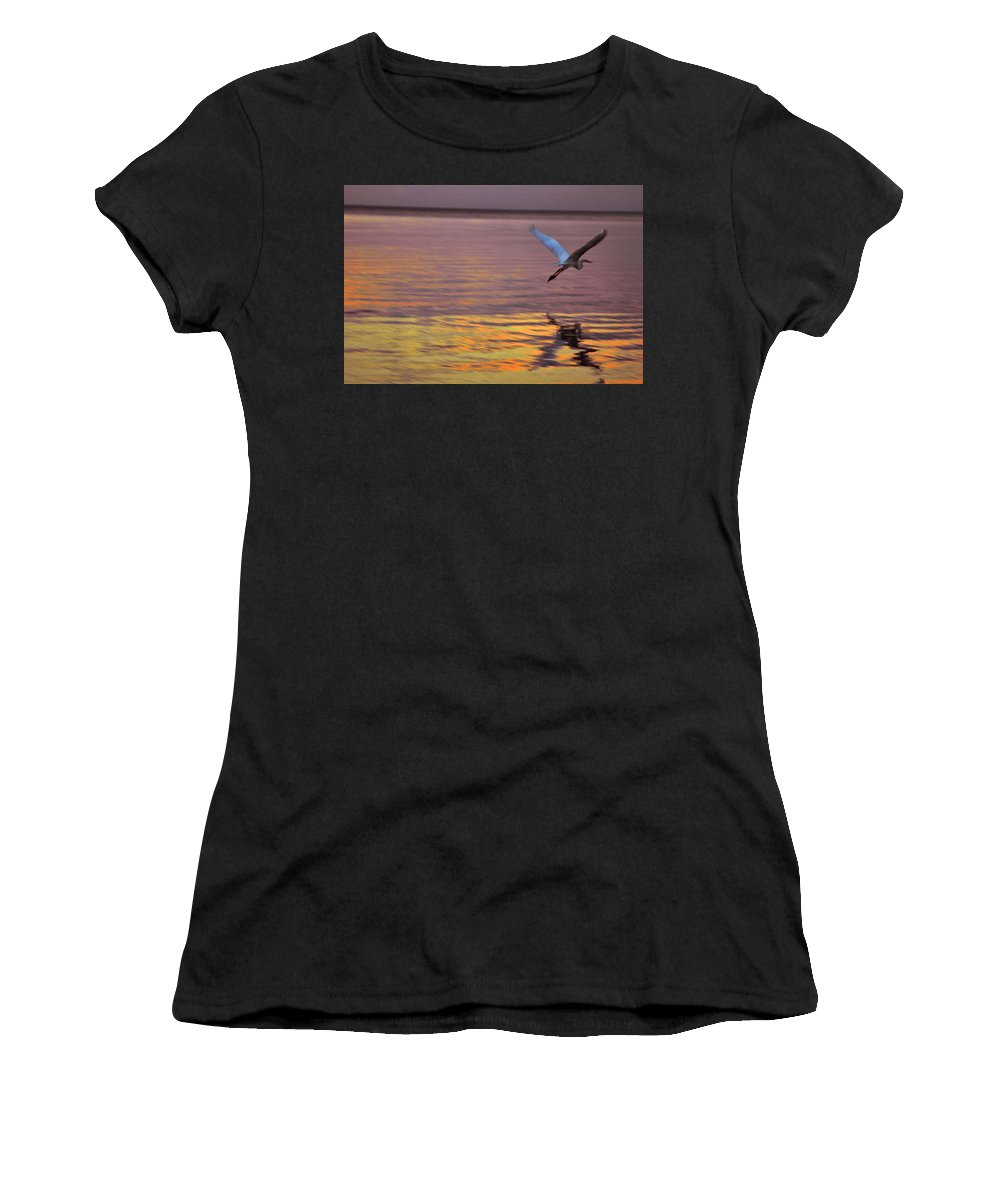Heron Women's T-Shirt (Athletic Fit) featuring the photograph Evening Flight by Susanne Van Hulst