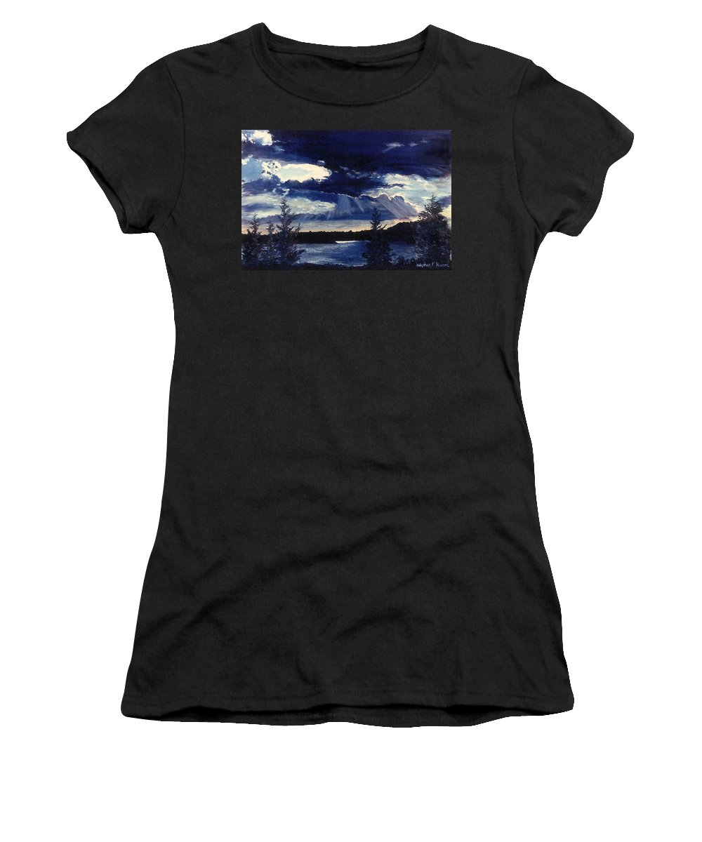 Landscape Women's T-Shirt (Athletic Fit) featuring the painting Evening Lake by Steve Karol