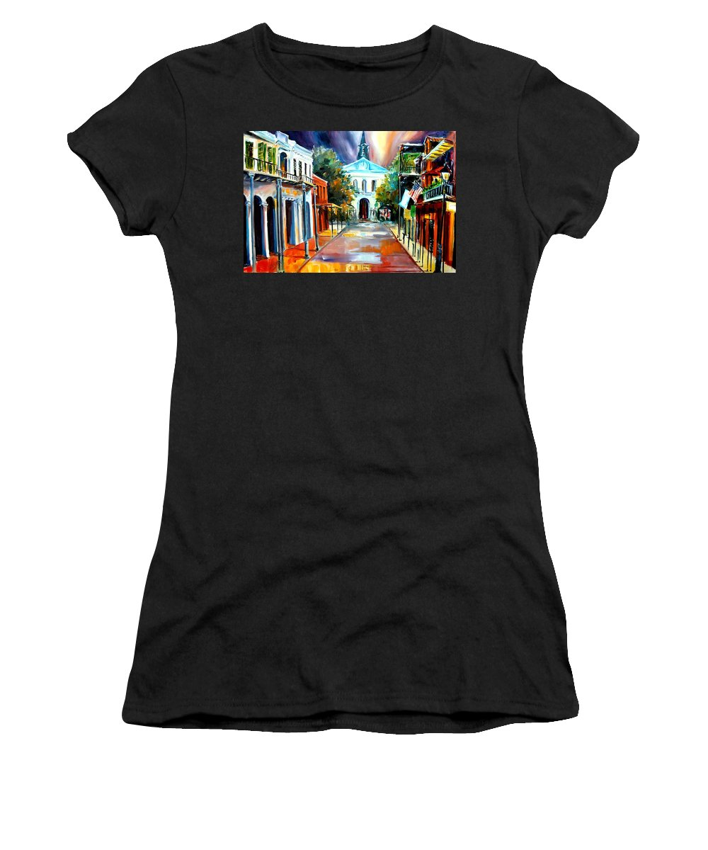 New Orleans Women's T-Shirt featuring the painting Evening On Orleans Street by Diane Millsap