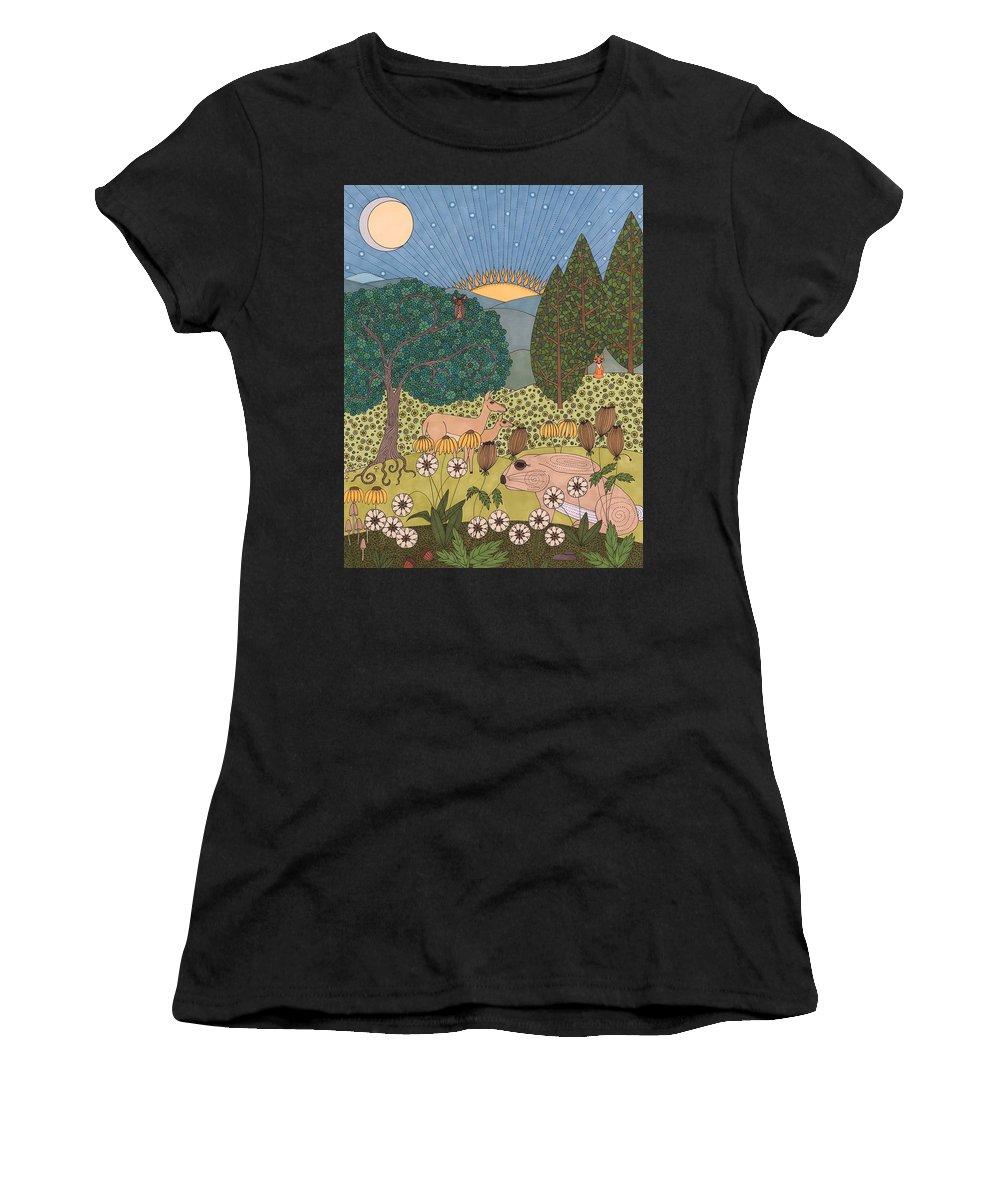 Evening Women's T-Shirt featuring the drawing Evening by Pamela Schiermeyer