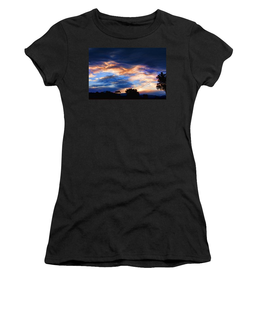 nature Photography Women's T-Shirt (Athletic Fit) featuring the photograph Evening Sky by James BO Insogna