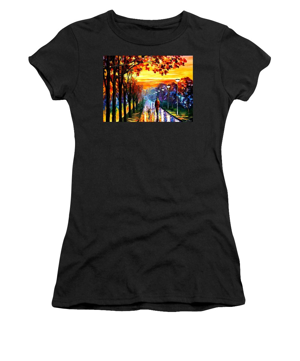Afremov Women's T-Shirt featuring the painting Evening Stroll by Leonid Afremov