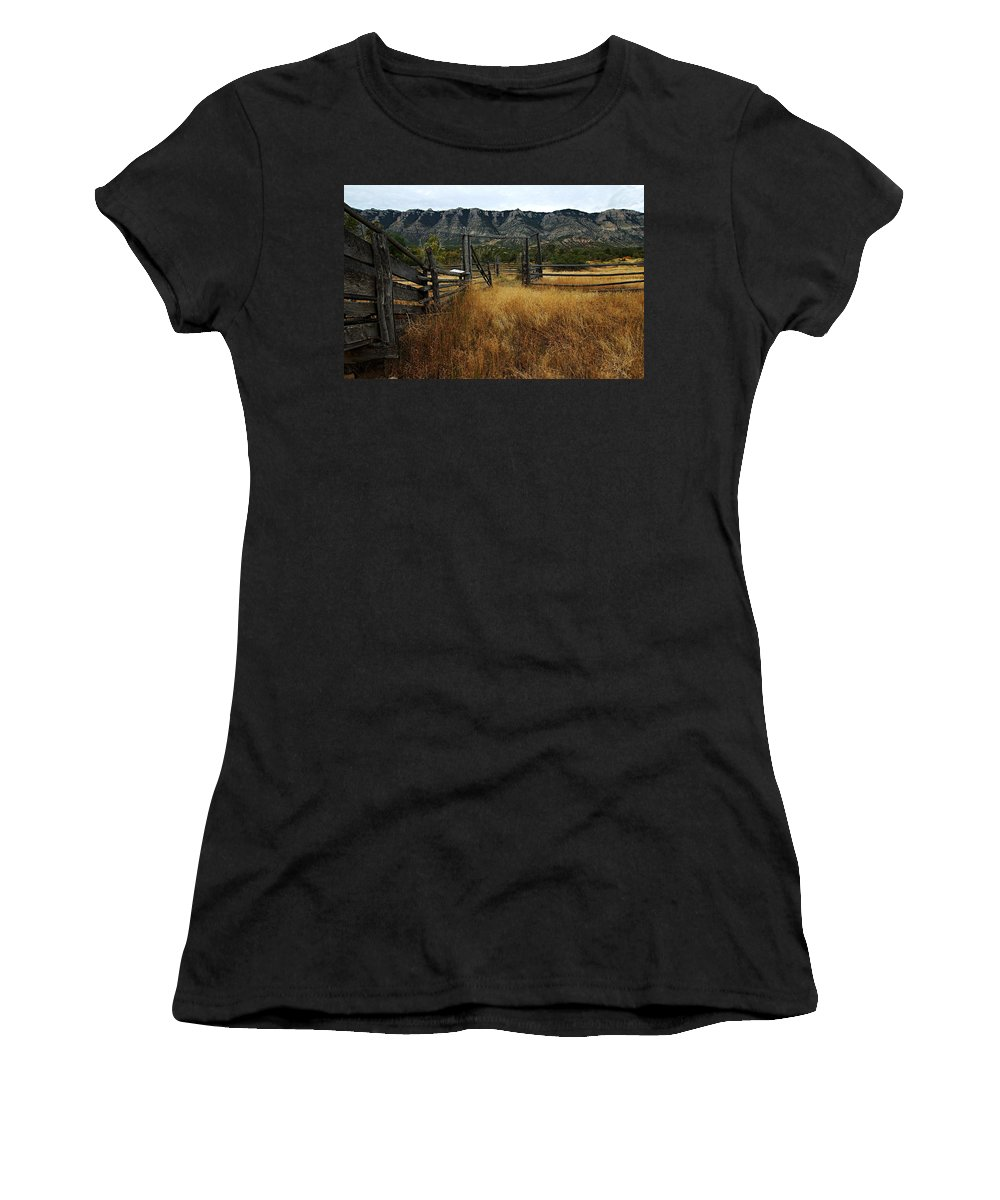Bighorn Canyon National Recreation Area Women's T-Shirt featuring the photograph Ewing-snell Ranch 1 by Larry Ricker