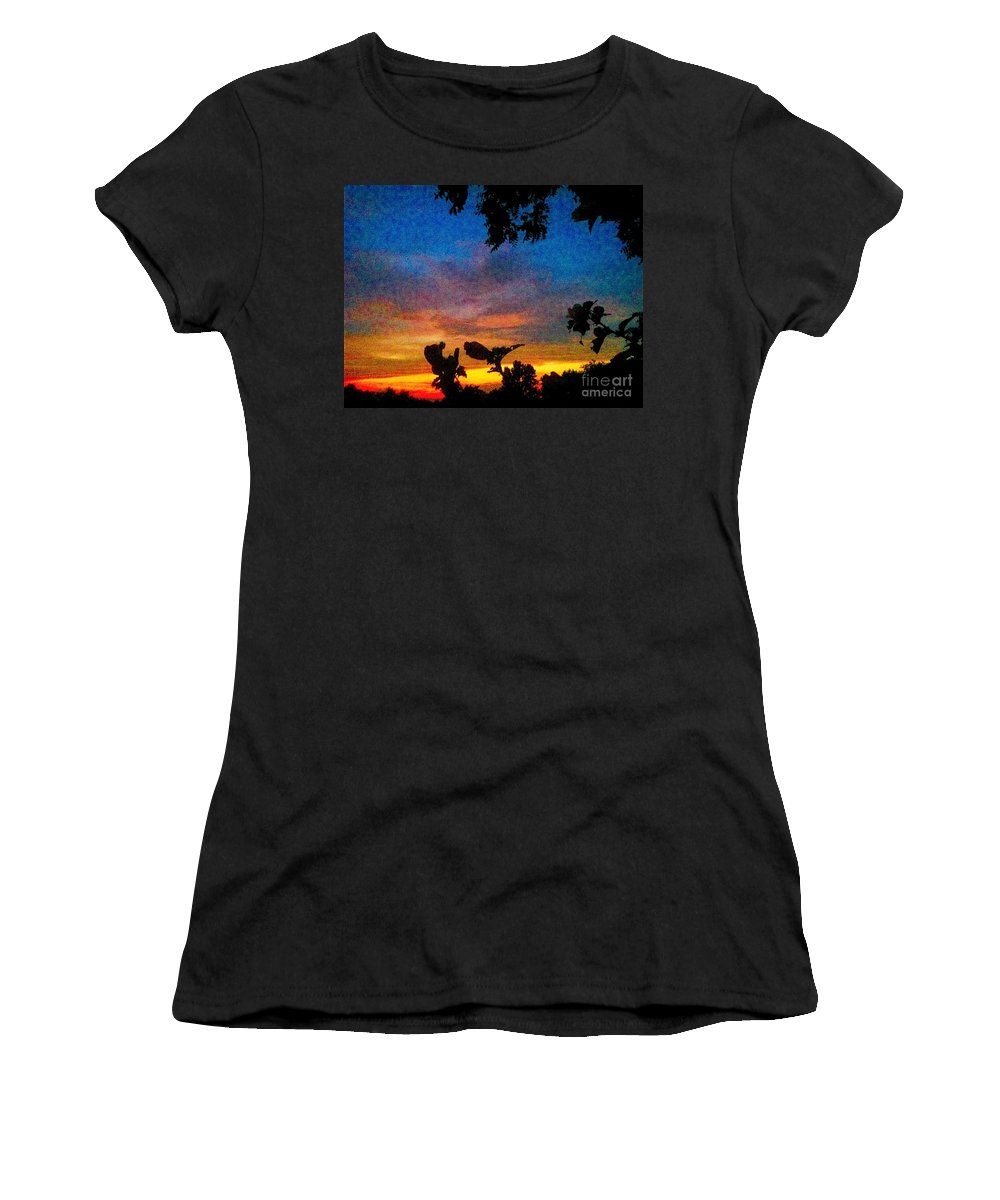 Sunset Women's T-Shirt (Athletic Fit) featuring the photograph Exagerated Sunset Painting by Debra Lynch