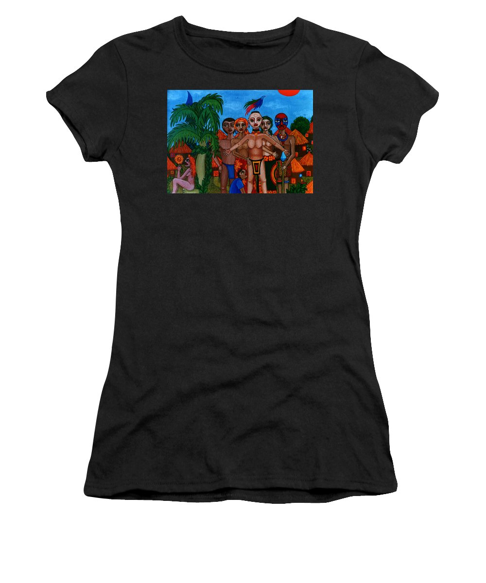 Homeland Women's T-Shirt (Athletic Fit) featuring the painting Exiled In Homeland by Madalena Lobao-Tello