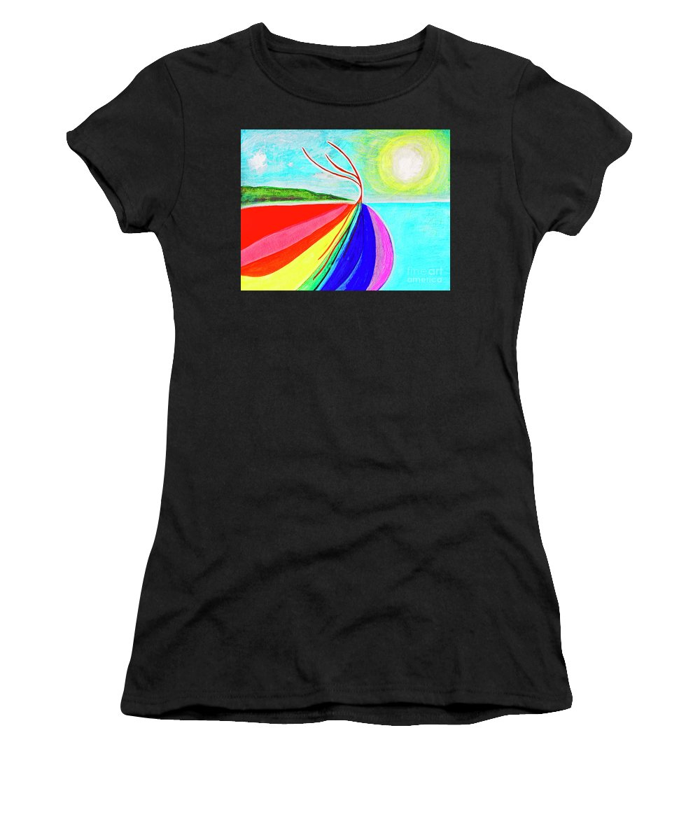 Flowing Women's T-Shirt (Athletic Fit) featuring the painting Expansive Flowing Colors In Nature by Lee Serenethos