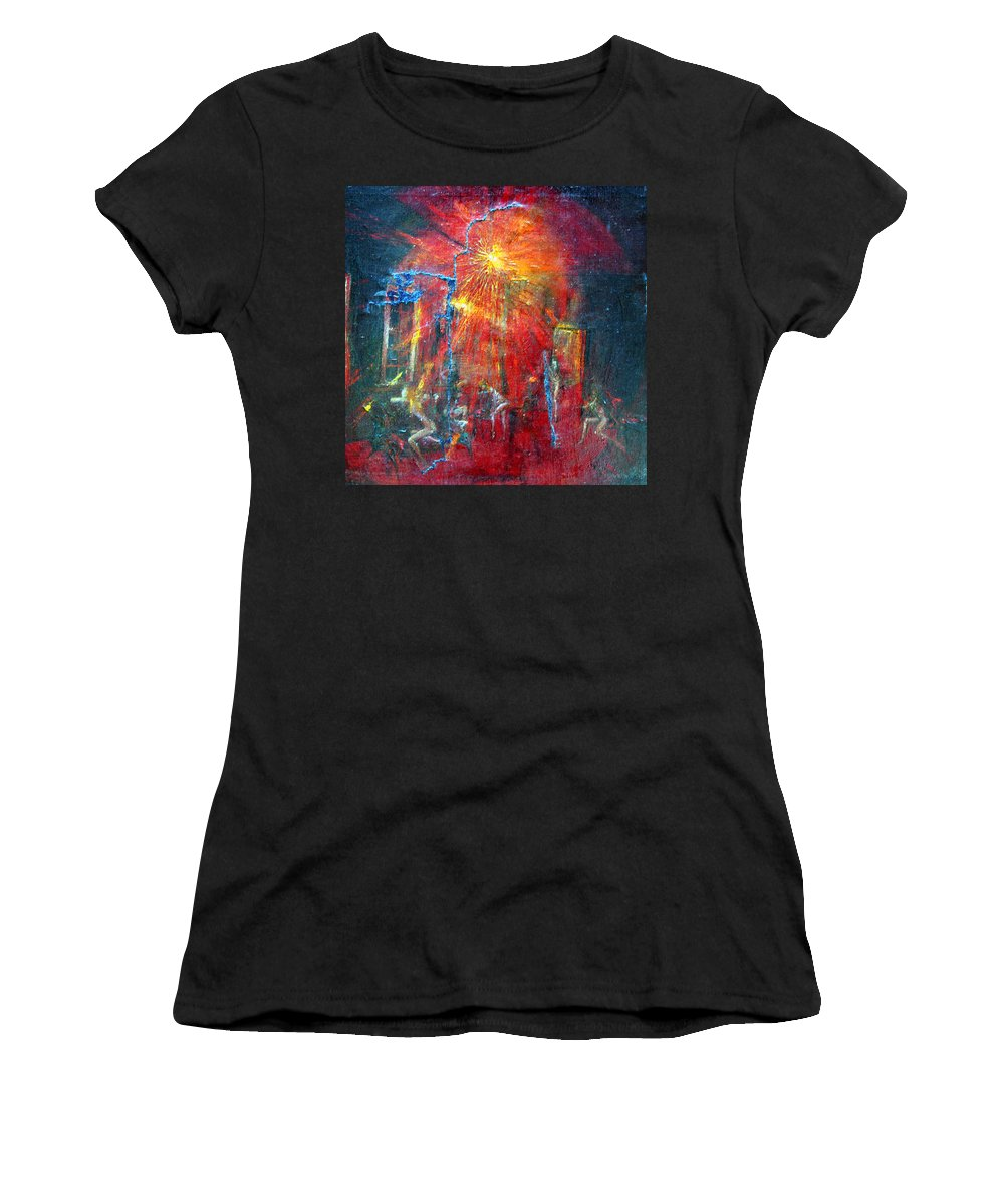 Imagination Women's T-Shirt (Athletic Fit) featuring the painting Expectation by Wojtek Kowalski