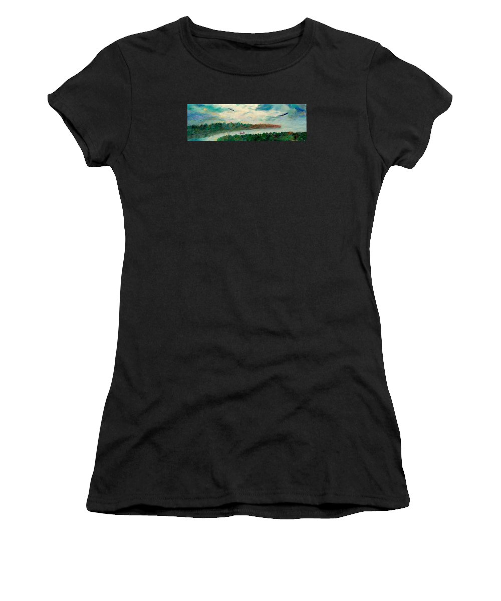 Canoeing On The Big Canadian Lakes Women's T-Shirt (Athletic Fit) featuring the painting Exploring Our Lake by Naomi Gerrard
