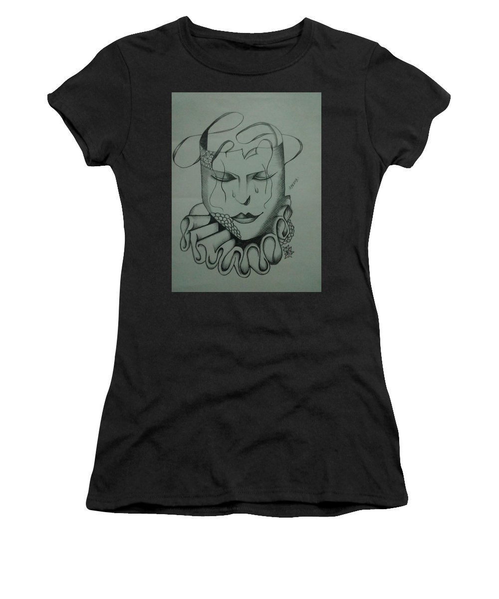 Realistic Face Women's T-Shirt (Athletic Fit) featuring the drawing Expressionless by Saad Dilawer