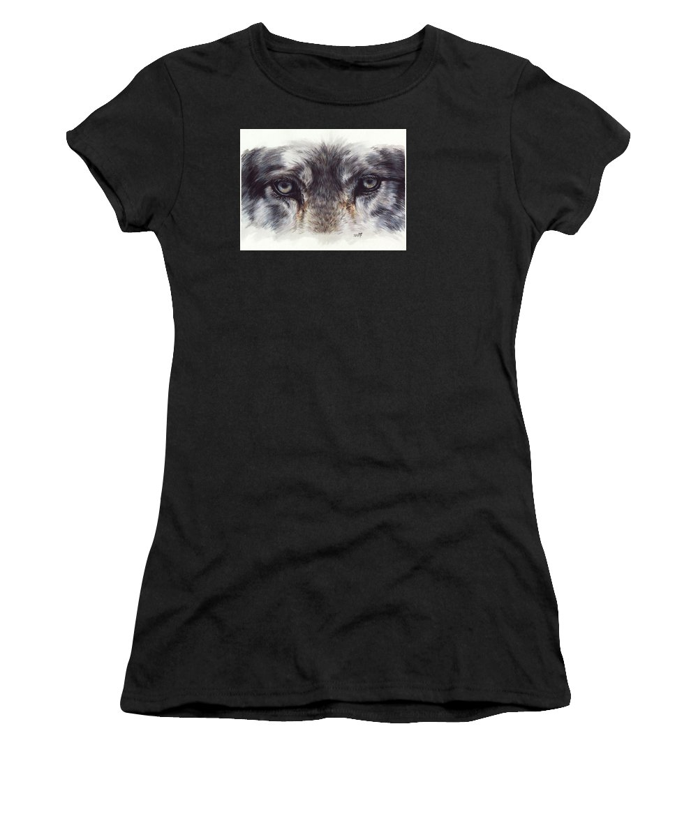 Wolf Women's T-Shirt (Athletic Fit) featuring the painting Eye-catching Wolf by Barbara Keith