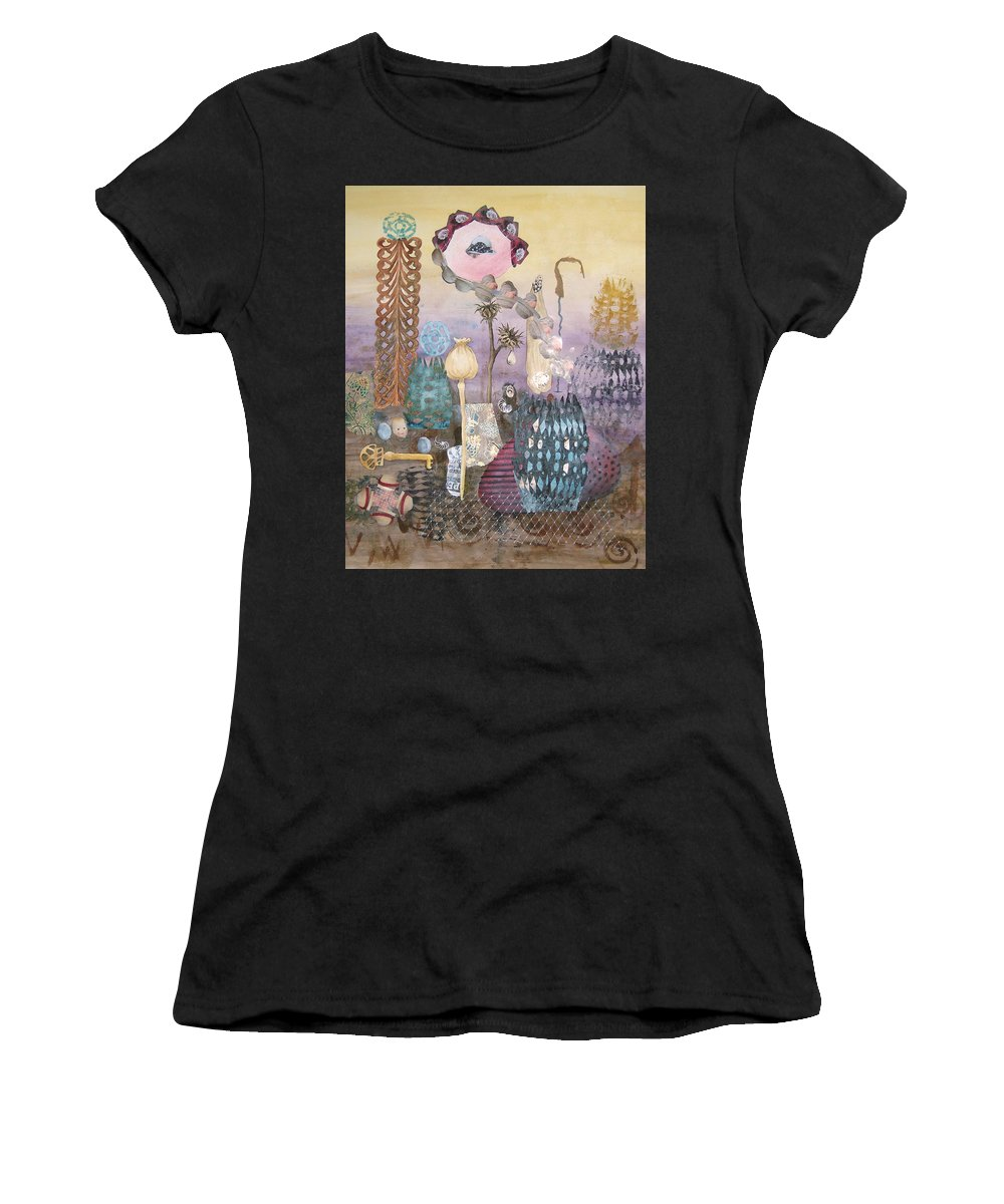 Abstract Women's T-Shirt (Athletic Fit) featuring the painting Eye Has It by Valerie Meotti