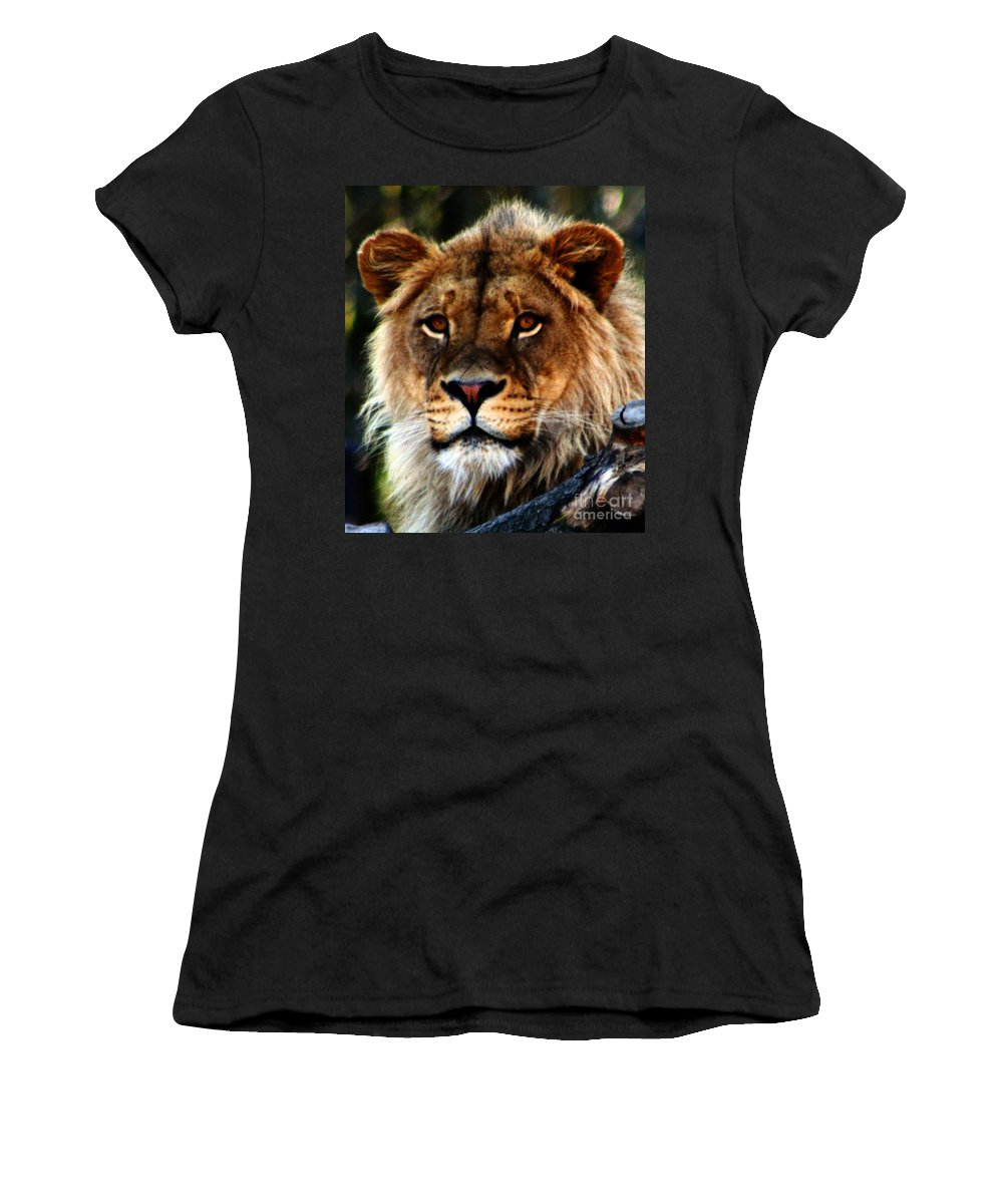 Lion Women's T-Shirt featuring the photograph Eyes Of The Young King by Nick Gustafson