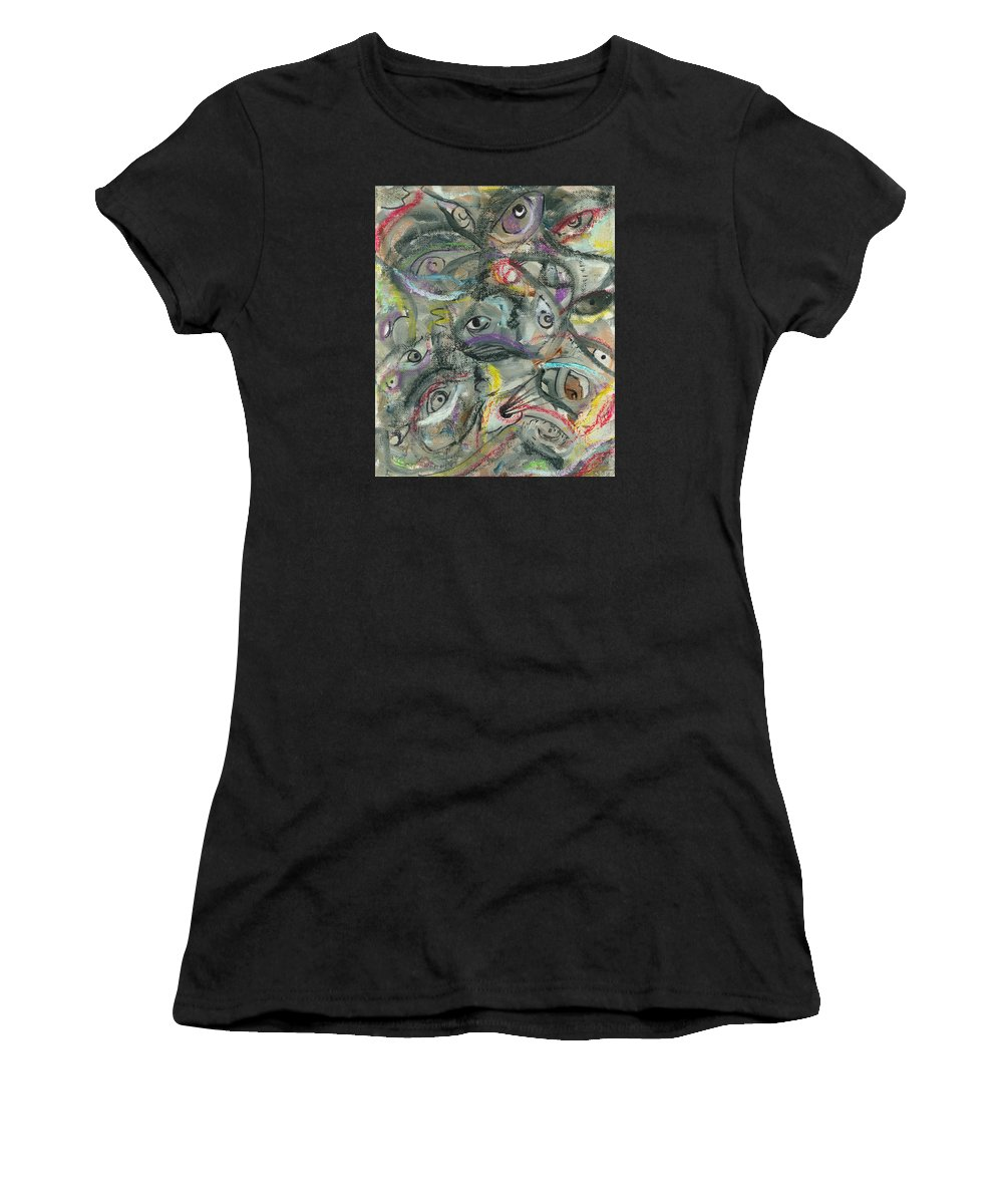 Eyes Women's T-Shirt (Athletic Fit) featuring the painting Eyescape by Jorge Delara