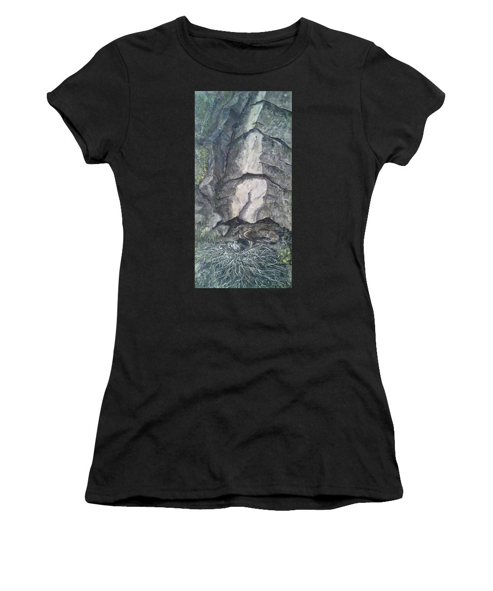 Eagle Women's T-Shirt (Athletic Fit) featuring the painting Eyrie by Duncan Sawyer