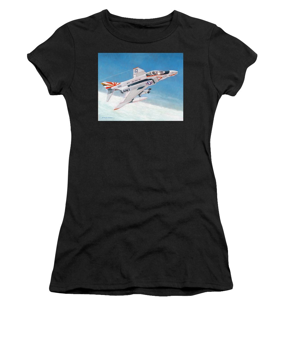 Aviation Art Women's T-Shirt featuring the painting F-4b Phantom II Of Vf-111 by Douglas Castleman