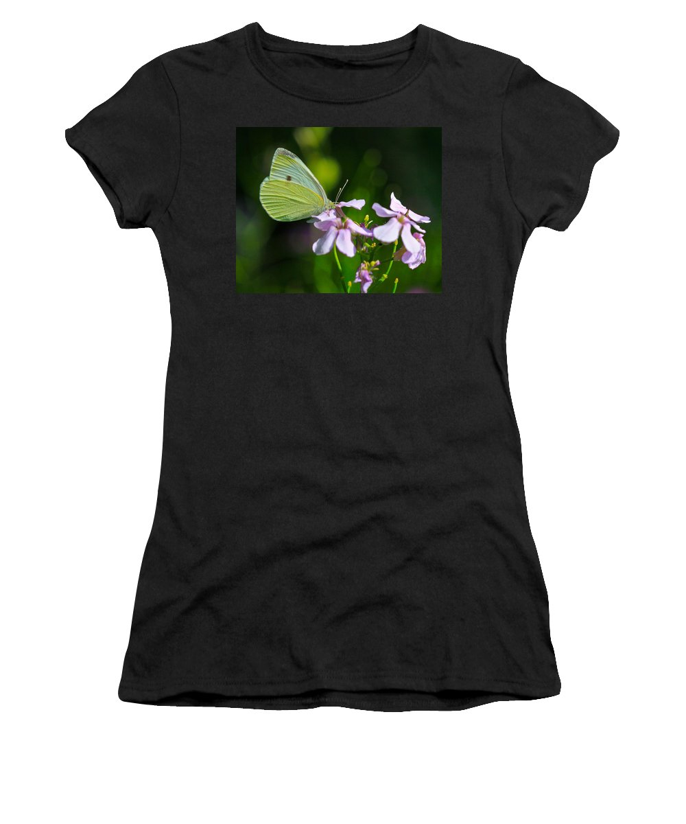 Related Tags: Butterfly Artwork Women's T-Shirt (Athletic Fit) featuring the photograph Face First by Robert Pearson