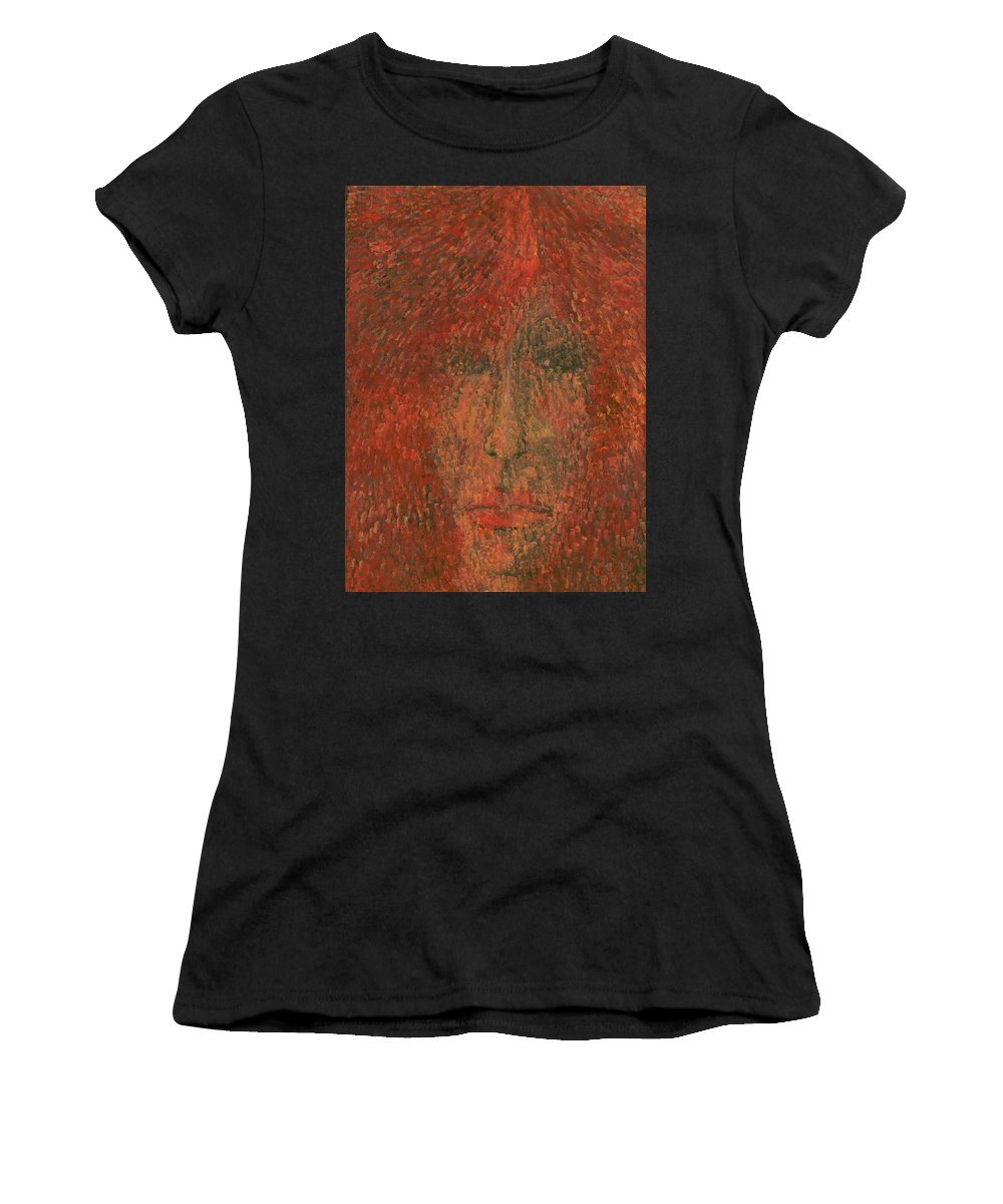 Colour Women's T-Shirt (Athletic Fit) featuring the painting Face by Wojtek Kowalski