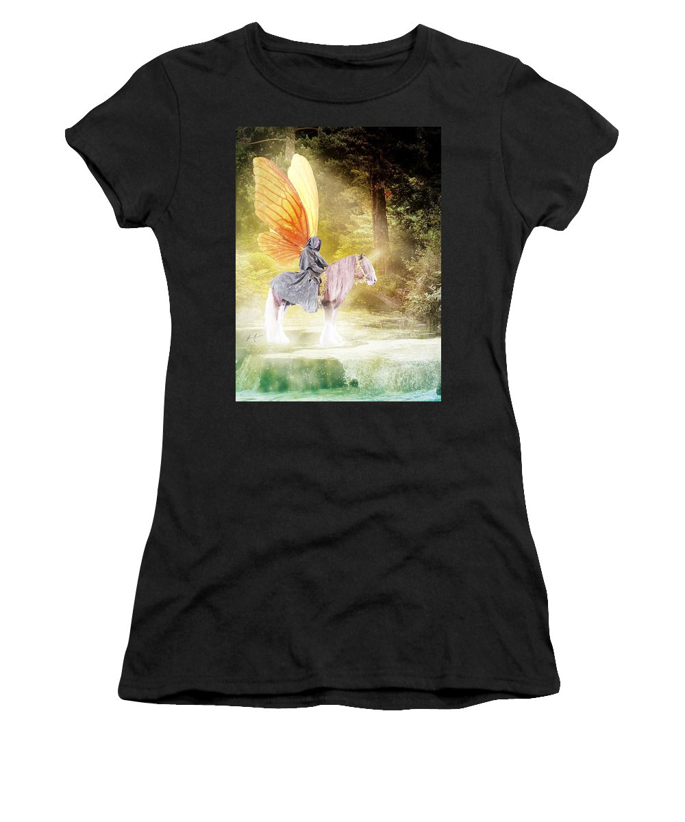 Gypsy Fairy Gypsy Vanner Fantasy Horse Equine Mystical Women's T-Shirt featuring the photograph Fae In The Forest by Jamie Mammano