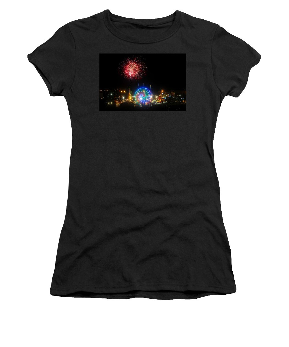 Fireworks Women's T-Shirt (Athletic Fit) featuring the photograph Fair Fireworks by David Lee Thompson