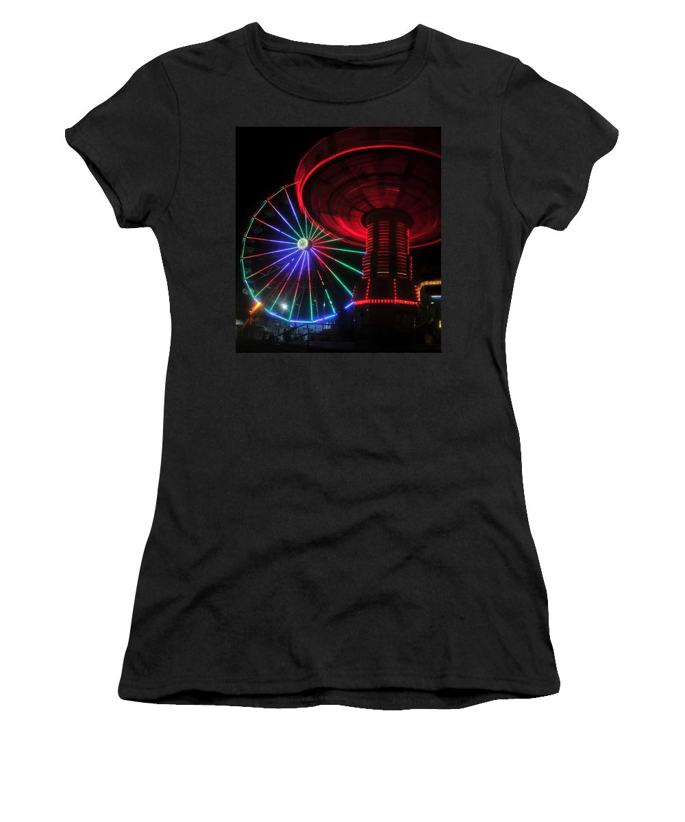 Florida State Fair Women's T-Shirt (Athletic Fit) featuring the photograph Fair Lights by David Lee Thompson