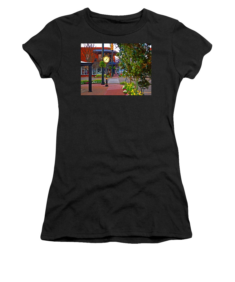 Fairhope Women's T-Shirt (Athletic Fit) featuring the painting Fairhope Ave With Clock Down Section Street by Michael Thomas