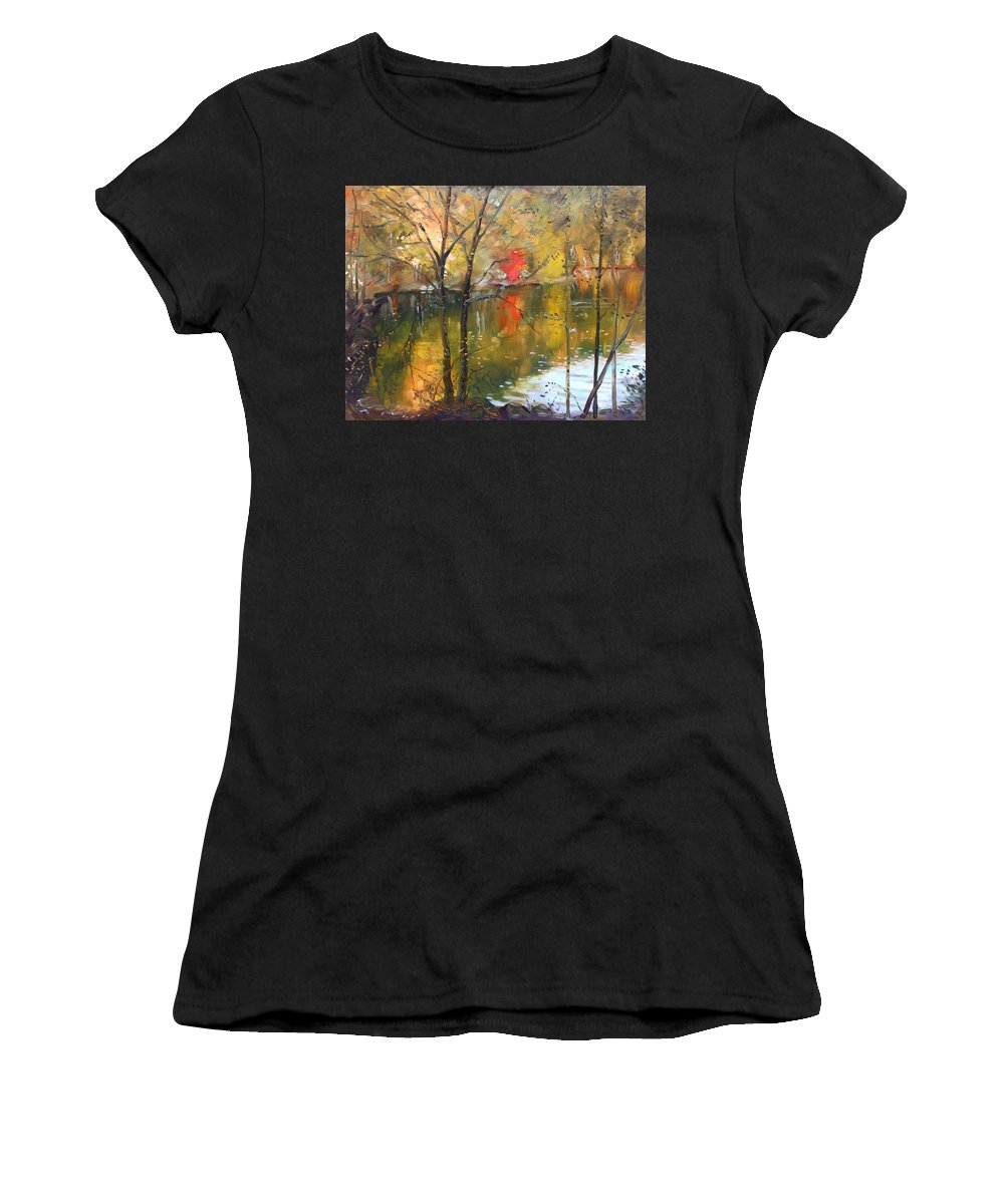 Landscape Women's T-Shirt (Athletic Fit) featuring the painting Fall 2009 by Ylli Haruni
