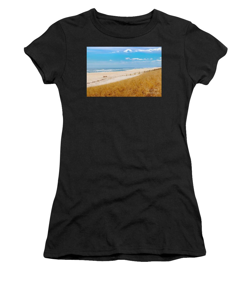 Beach Women's T-Shirt (Athletic Fit) featuring the photograph Fall Beachscape by Anthony Tucci