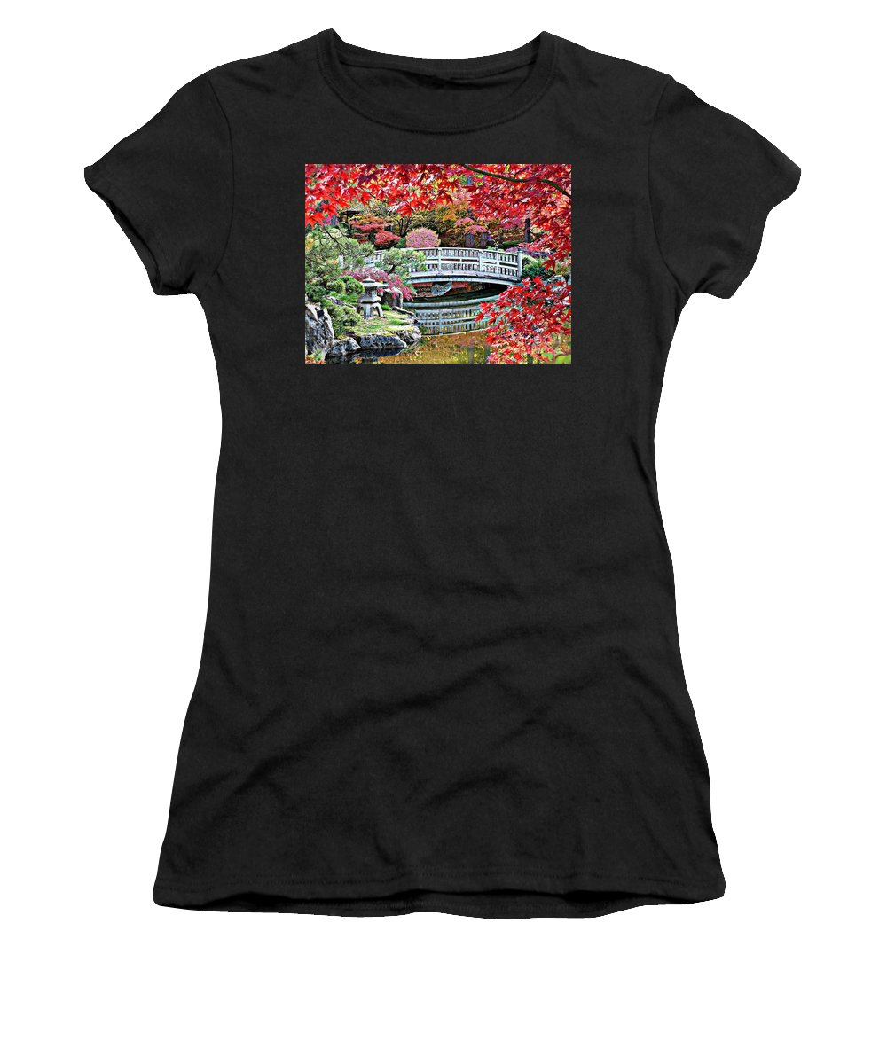 Autumn Bridge Women's T-Shirt (Athletic Fit) featuring the photograph Fall Bridge In Manito Park by Carol Groenen