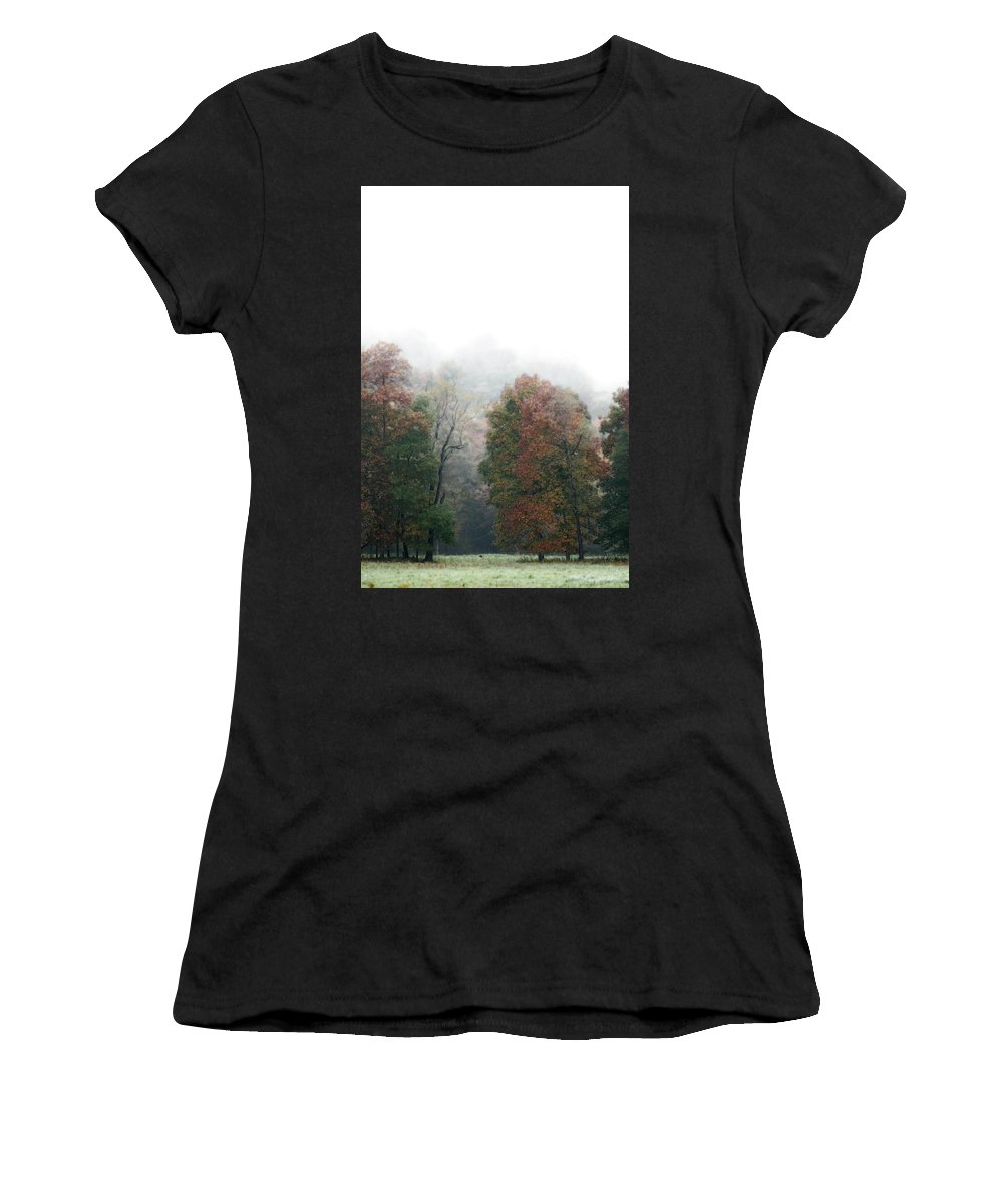 Fall Fog Women's T-Shirt featuring the photograph Fall Fog by Tracy Winter