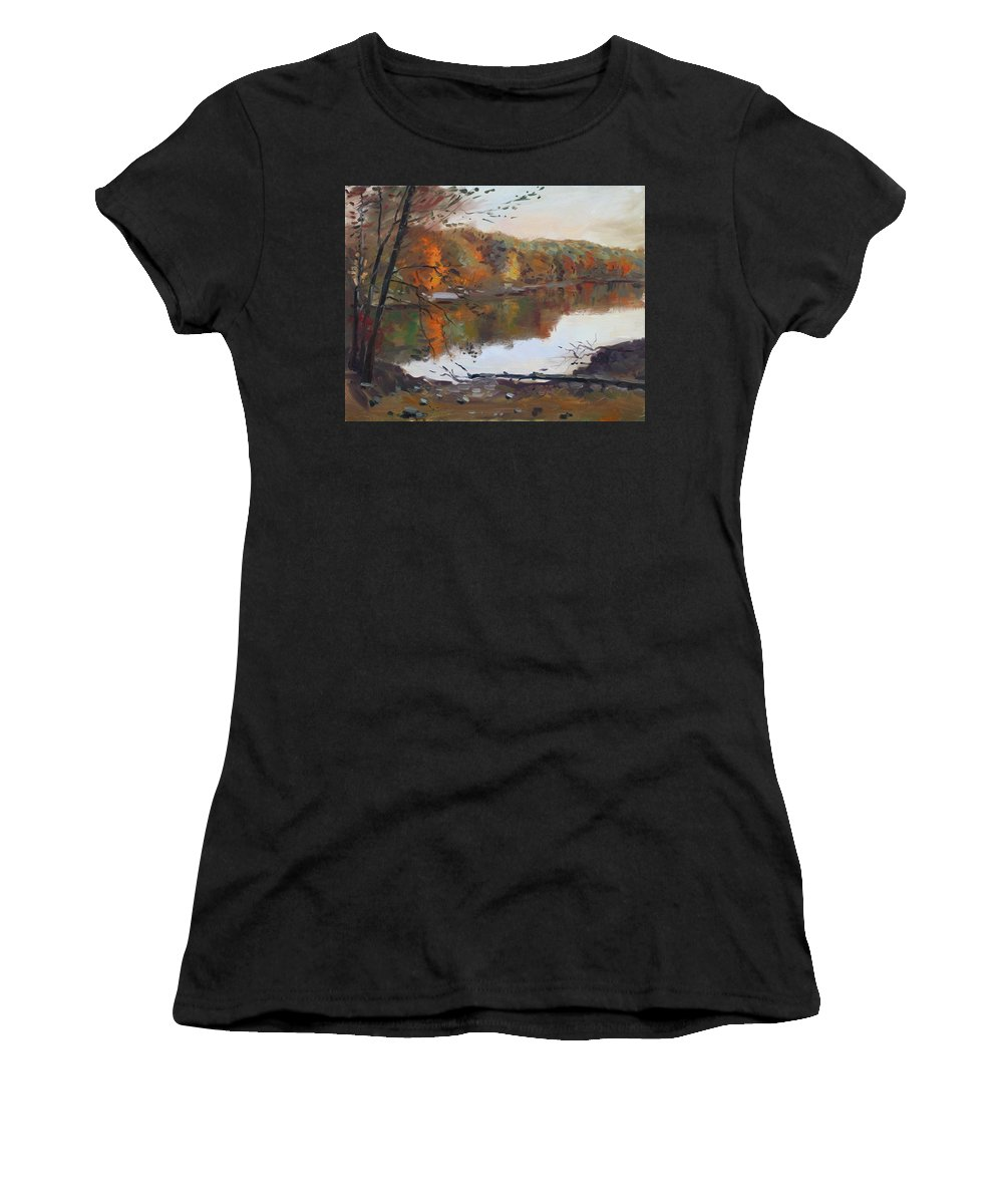 Landscape Women's T-Shirt (Athletic Fit) featuring the painting Fall In 7 Lakes by Ylli Haruni