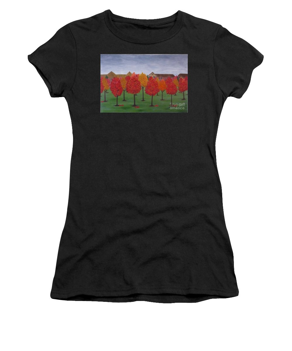 Fall Women's T-Shirt (Athletic Fit) featuring the painting Fall In Markham by Monika Shepherdson