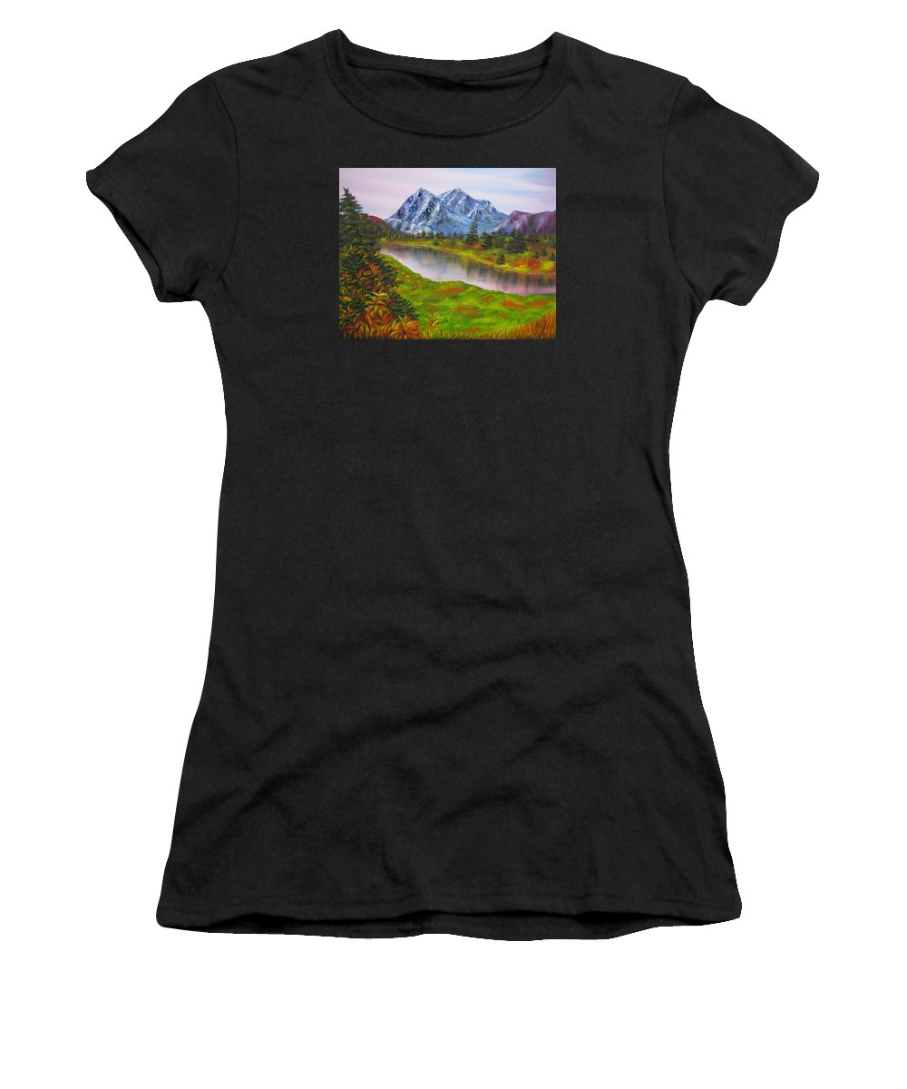 Fall Women's T-Shirt (Athletic Fit) featuring the painting Fall In Mountains Landscape Oil Painting by Natalja Picugina